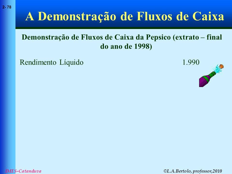 © L.A.Bertolo, professor,2010 2- 78 IMES-Catanduva A Demonstração de Fluxos de Caixa Demonstração de Fluxos de Caixa da Pepsico (extrato – final do an