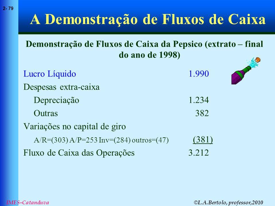 © L.A.Bertolo, professor,2010 2- 79 IMES-Catanduva A Demonstração de Fluxos de Caixa Demonstração de Fluxos de Caixa da Pepsico (extrato – final do an