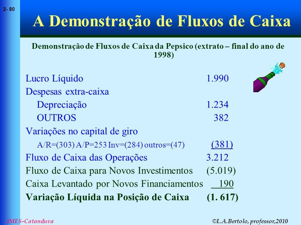 © L.A.Bertolo, professor,2010 2- 80 IMES-Catanduva A Demonstração de Fluxos de Caixa Demonstração de Fluxos de Caixa da Pepsico (extrato – final do an