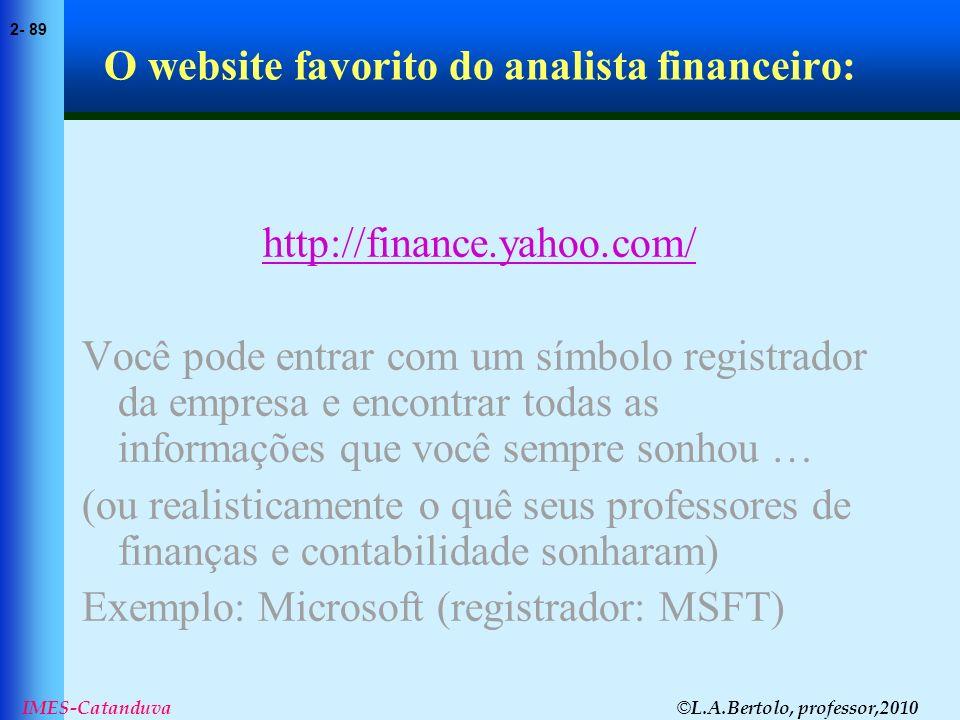 © L.A.Bertolo, professor,2010 2- 89 IMES-Catanduva O website favorito do analista financeiro: http://finance.yahoo.com/ Você pode entrar com um símbol
