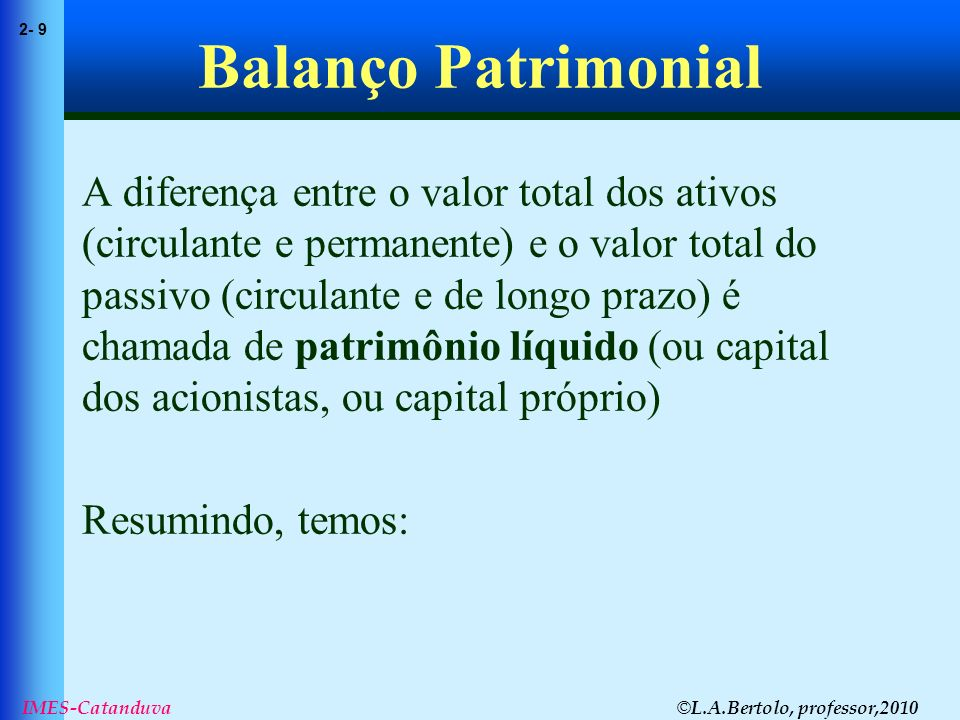 © L.A.Bertolo, professor,2010 2- 9 IMES-Catanduva Balanço Patrimonial A diferença entre o valor total dos ativos (circulante e permanente) e o valor t