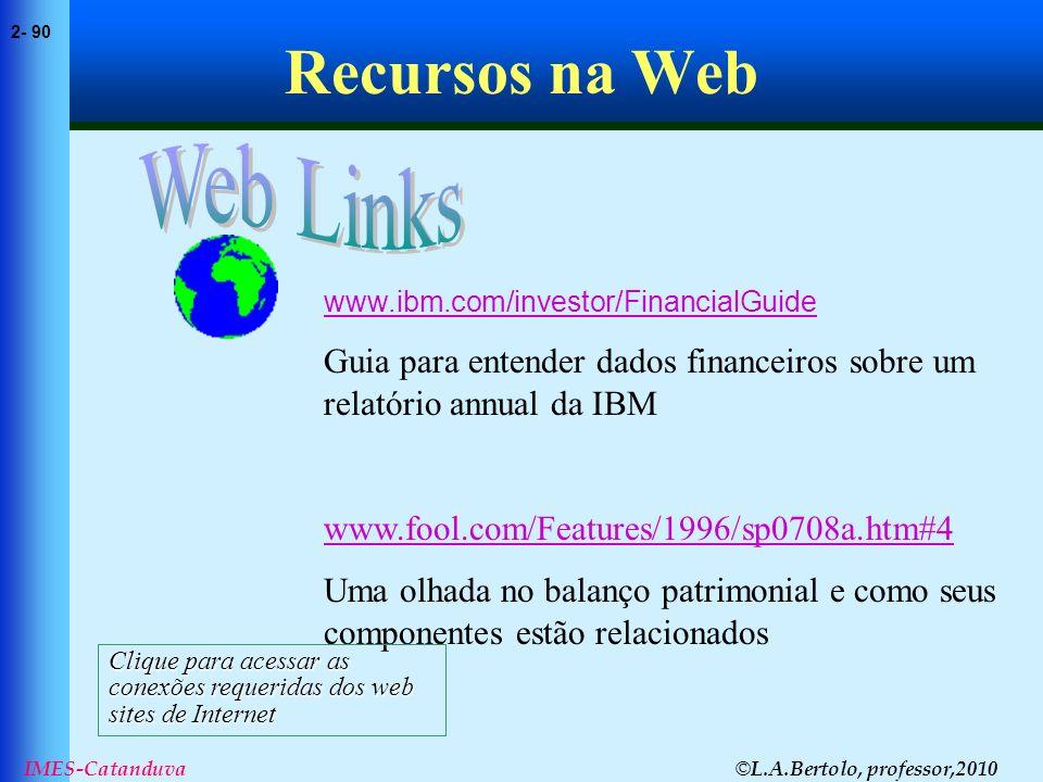 © L.A.Bertolo, professor,2010 2- 90 IMES-Catanduva Recursos na Web www.ibm.com/investor/FinancialGuide Guia para entender dados financeiros sobre um r
