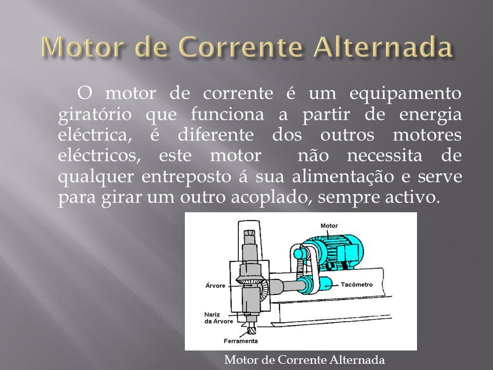 O motor de corrente é um equipamento giratório que funciona a partir de energia eléctrica, é diferente dos outros motores eléctricos, este motor não necessita de qualquer entreposto á sua alimentação e serve para girar um outro acoplado, sempre activo.