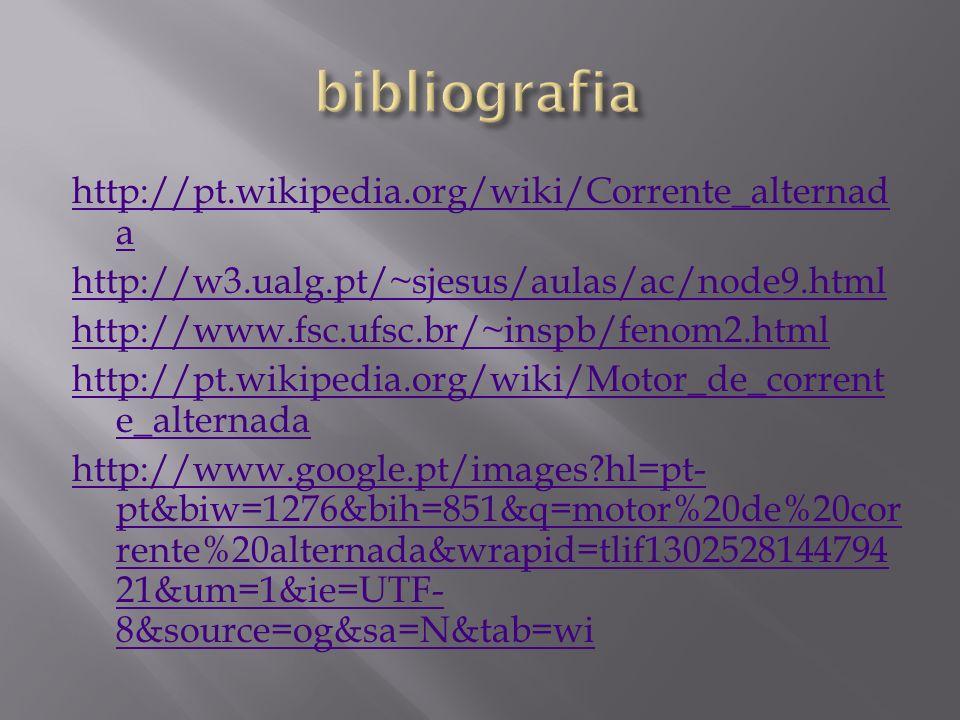 http://pt.wikipedia.org/wiki/Corrente_alternad a http://w3.ualg.pt/~sjesus/aulas/ac/node9.html http://www.fsc.ufsc.br/~inspb/fenom2.html http://pt.wik