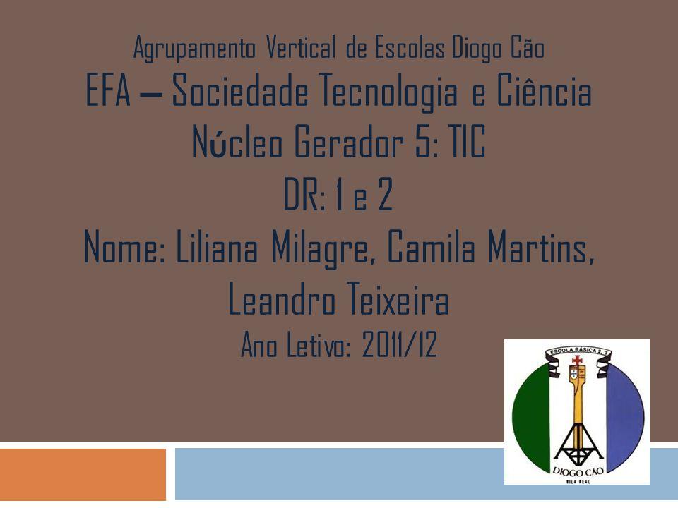 Agrupamento Vertical de Escolas Diogo Cão EFA – Sociedade Tecnologia e Ciência N ú cleo Gerador 5: TIC DR: 1 e 2 Nome: Liliana Milagre, Camila Martins