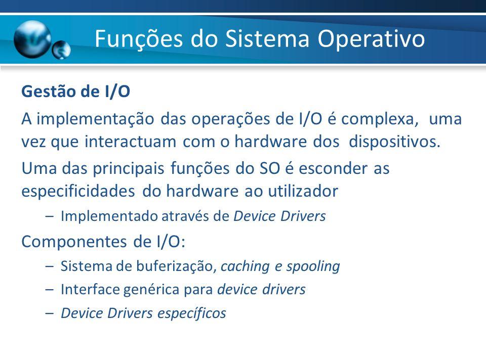 Gestão de I/O A implementação das operações de I/O é complexa, uma vez que interactuam com o hardware dos dispositivos. Uma das principais funções do
