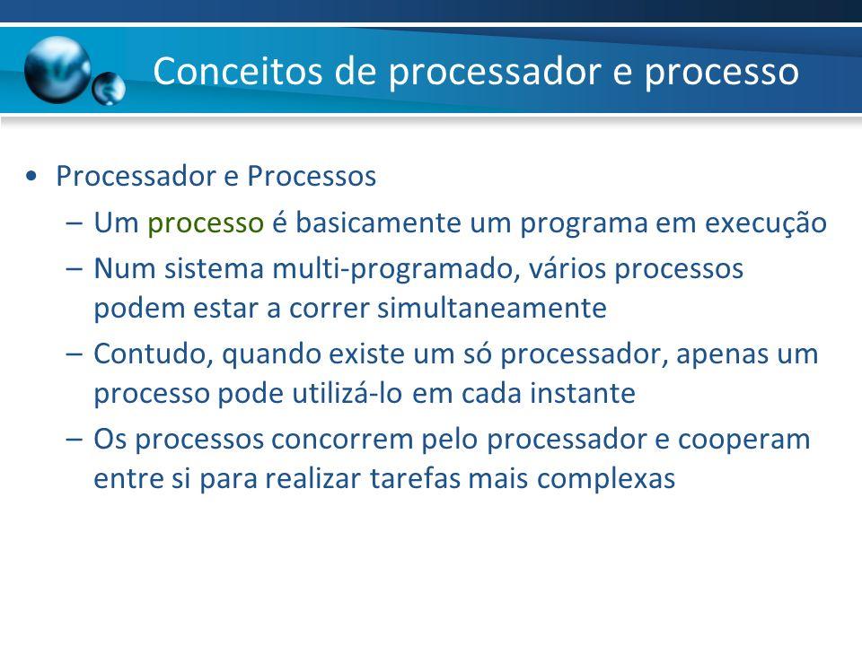 Conceitos de processador e processo Processador e Processos –Um processo é basicamente um programa em execução –Num sistema multi-programado, vários p