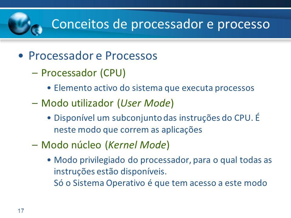 17 Processador e Processos –Processador (CPU) Elemento activo do sistema que executa processos –Modo utilizador (User Mode) Disponível um subconjunto