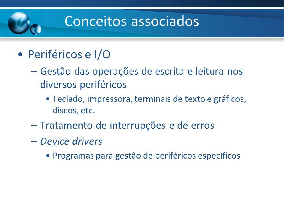 Periféricos e I/O –Gestão das operações de escrita e leitura nos diversos periféricos Teclado, impressora, terminais de texto e gráficos, discos, etc.