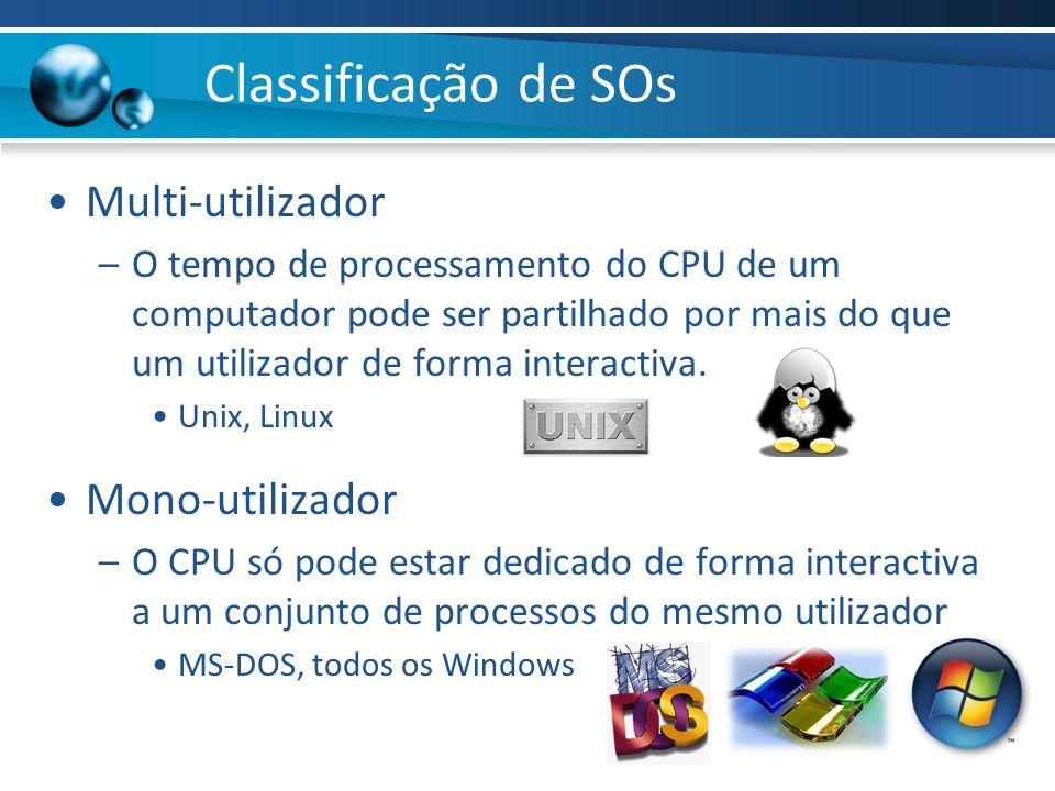 Classificação de SOs Multi-utilizador –O tempo de processamento do CPU de um computador pode ser partilhado por mais do que um utilizador de forma int