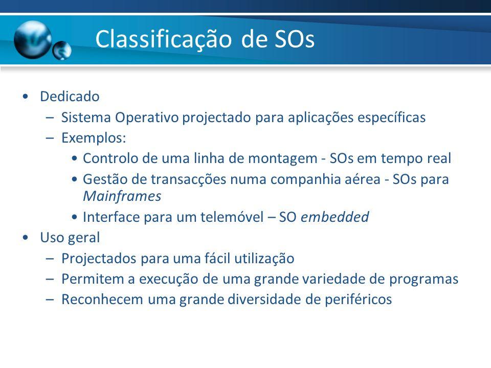 Classificação de SOs Dedicado –Sistema Operativo projectado para aplicações específicas –Exemplos: Controlo de uma linha de montagem - SOs em tempo re