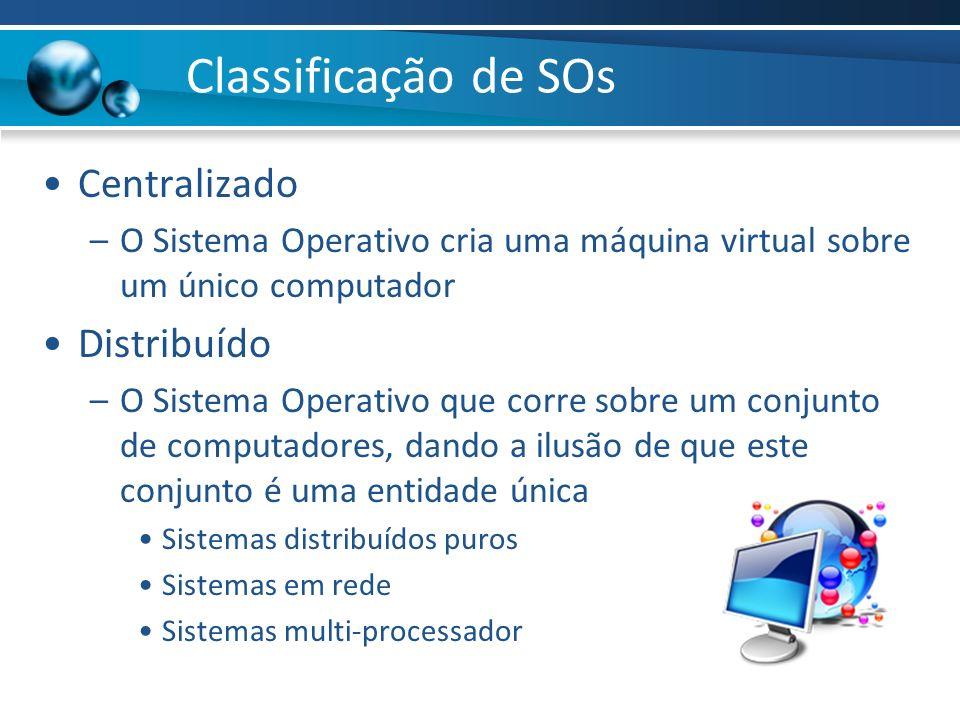 Classificação de SOs Centralizado –O Sistema Operativo cria uma máquina virtual sobre um único computador Distribuído –O Sistema Operativo que corre s