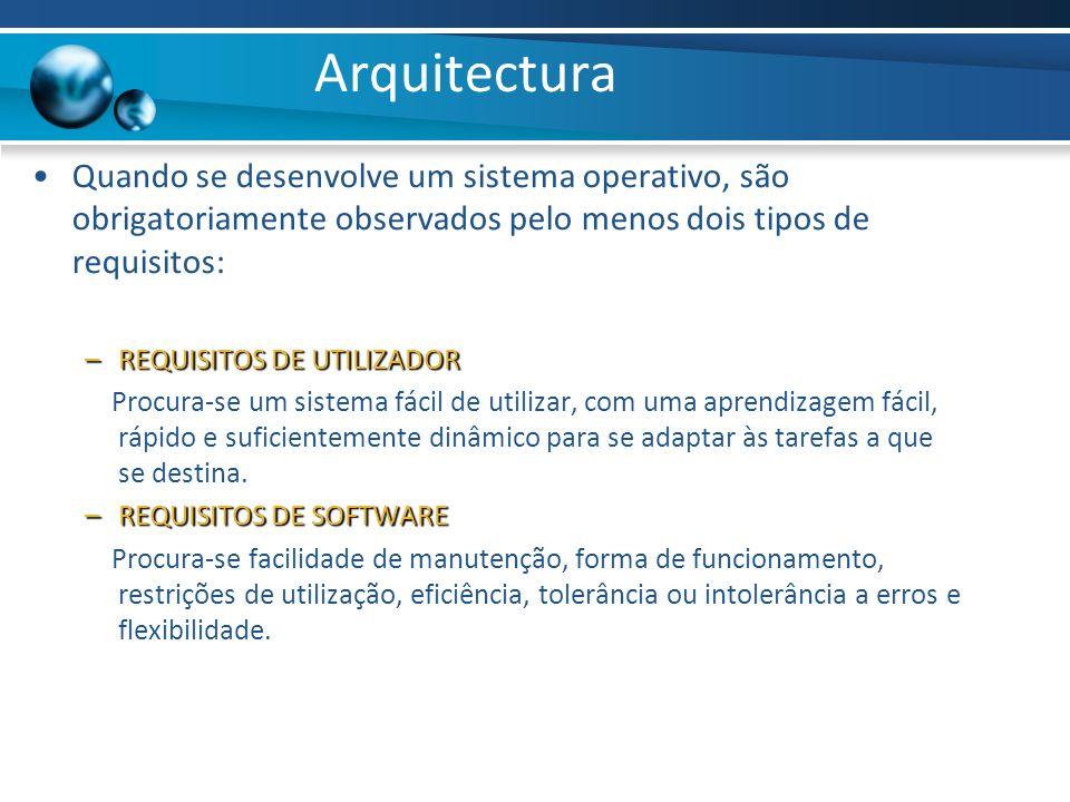 Arquitectura Quando se desenvolve um sistema operativo, são obrigatoriamente observados pelo menos dois tipos de requisitos: –REQUISITOS DE UTILIZADOR