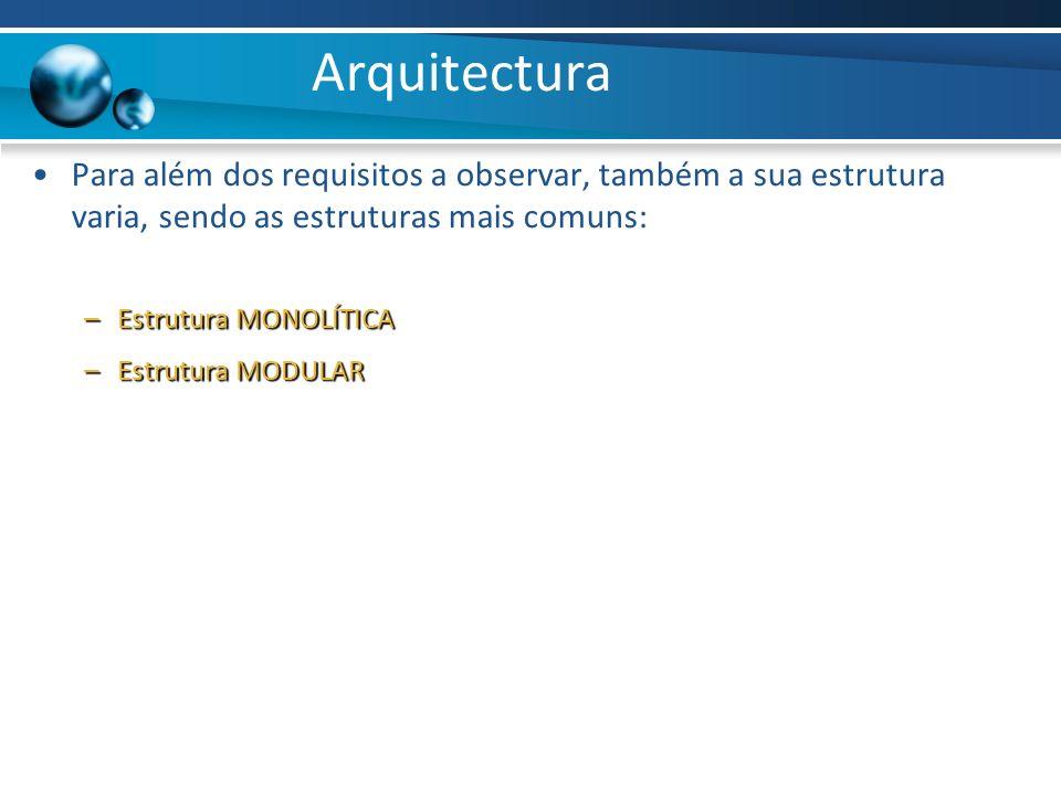 Arquitectura Para além dos requisitos a observar, também a sua estrutura varia, sendo as estruturas mais comuns: –Estrutura MONOLÍTICA –Estrutura MODU