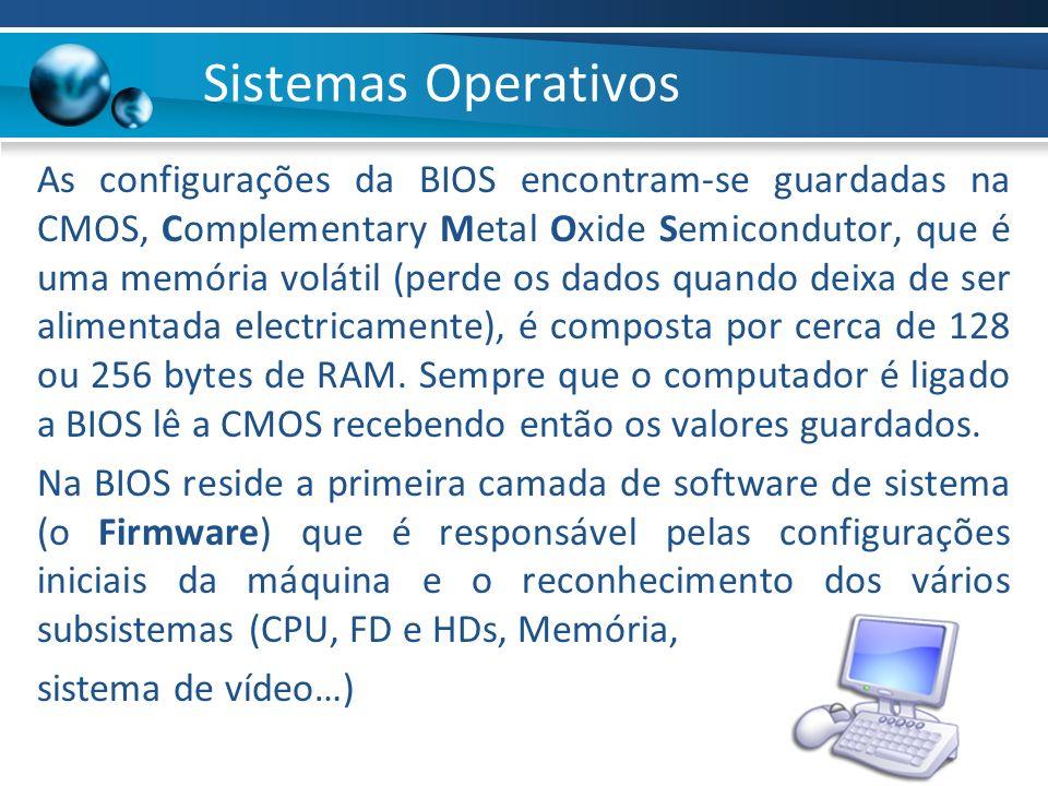 As configurações da BIOS encontram-se guardadas na CMOS, Complementary Metal Oxide Semicondutor, que é uma memória volátil (perde os dados quando deix