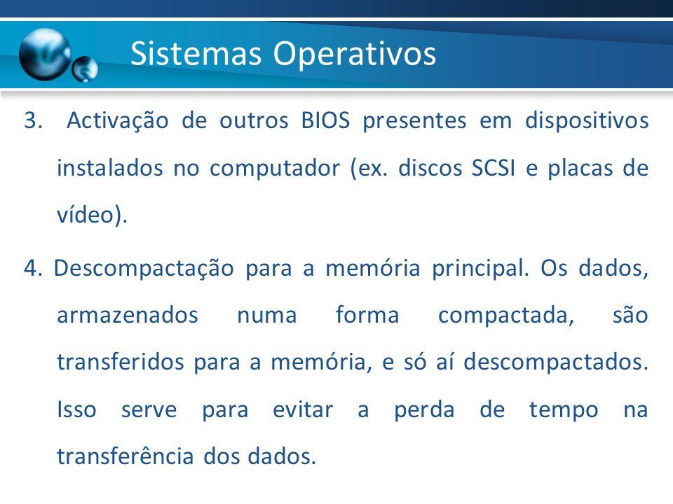 3. Activação de outros BIOS presentes em dispositivos instalados no computador (ex. discos SCSI e placas de vídeo). 4. Descompactação para a memória p