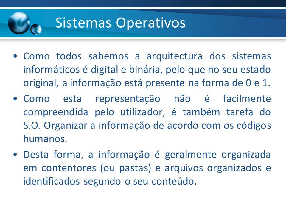 Sistemas Operativos Como todos sabemos a arquitectura dos sistemas informáticos é digital e binária, pelo que no seu estado original, a informação est