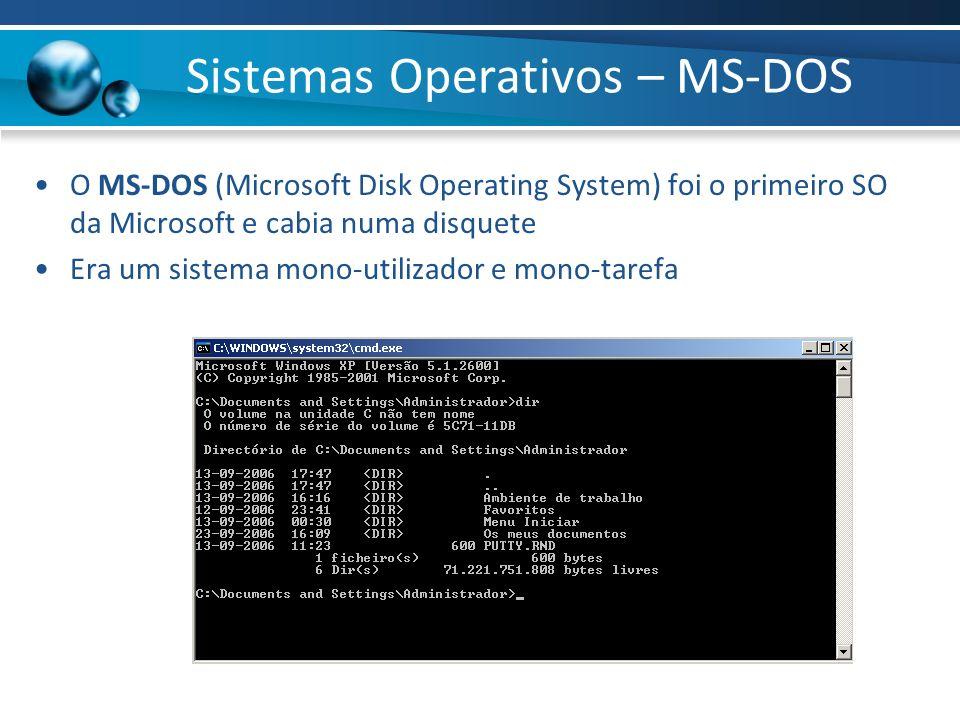 Sistemas Operativos – MS-DOS O MS-DOS (Microsoft Disk Operating System) foi o primeiro SO da Microsoft e cabia numa disquete Era um sistema mono-utili
