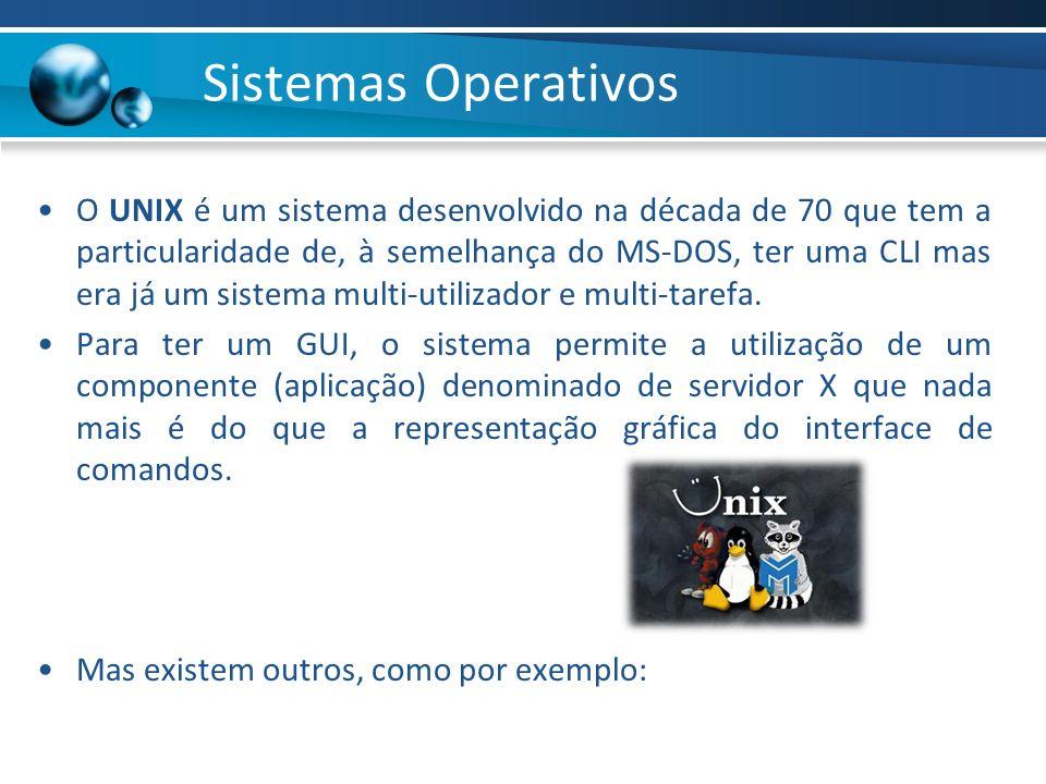 Sistemas Operativos O UNIX é um sistema desenvolvido na década de 70 que tem a particularidade de, à semelhança do MS-DOS, ter uma CLI mas era já um s