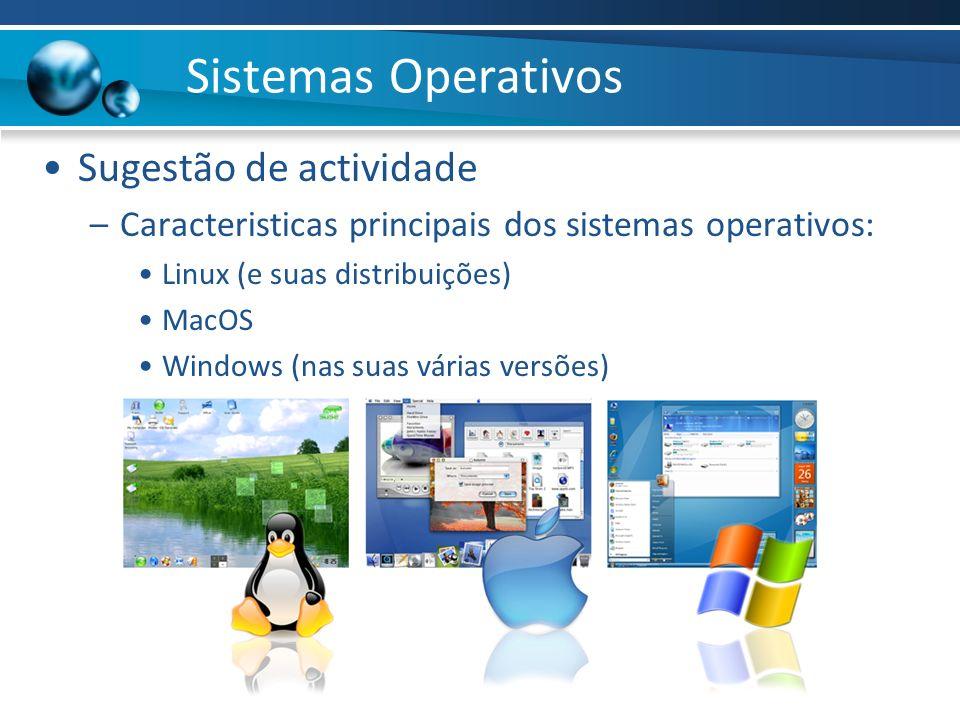 Sistemas Operativos Sugestão de actividade –Caracteristicas principais dos sistemas operativos: Linux (e suas distribuições) MacOS Windows (nas suas v