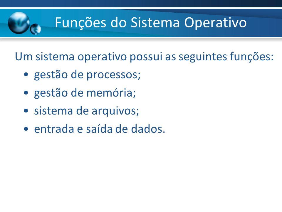 Funções do Sistema Operativo Um sistema operativo possui as seguintes funções: gestão de processos; gestão de memória; sistema de arquivos; entrada e