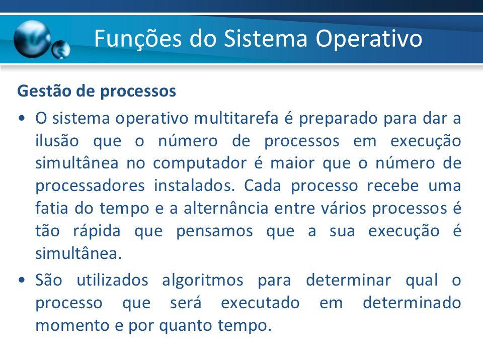 Gestão de processos O sistema operativo multitarefa é preparado para dar a ilusão que o número de processos em execução simultânea no computador é mai