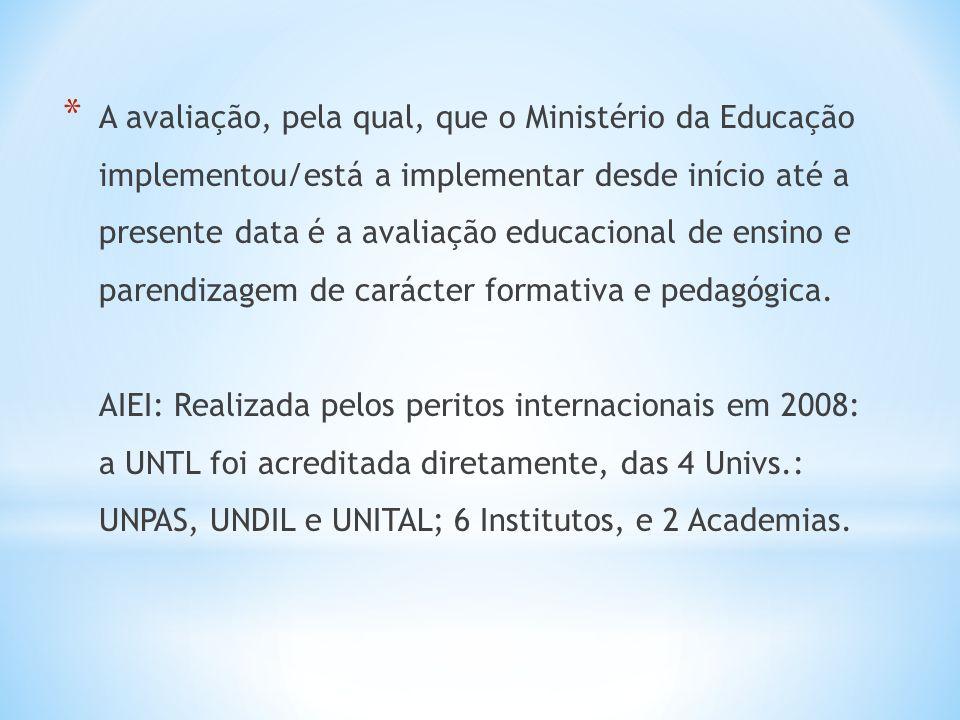 * A avaliação, pela qual, que o Ministério da Educação implementou/está a implementar desde início até a presente data é a avaliação educacional de ensino e parendizagem de carácter formativa e pedagógica.