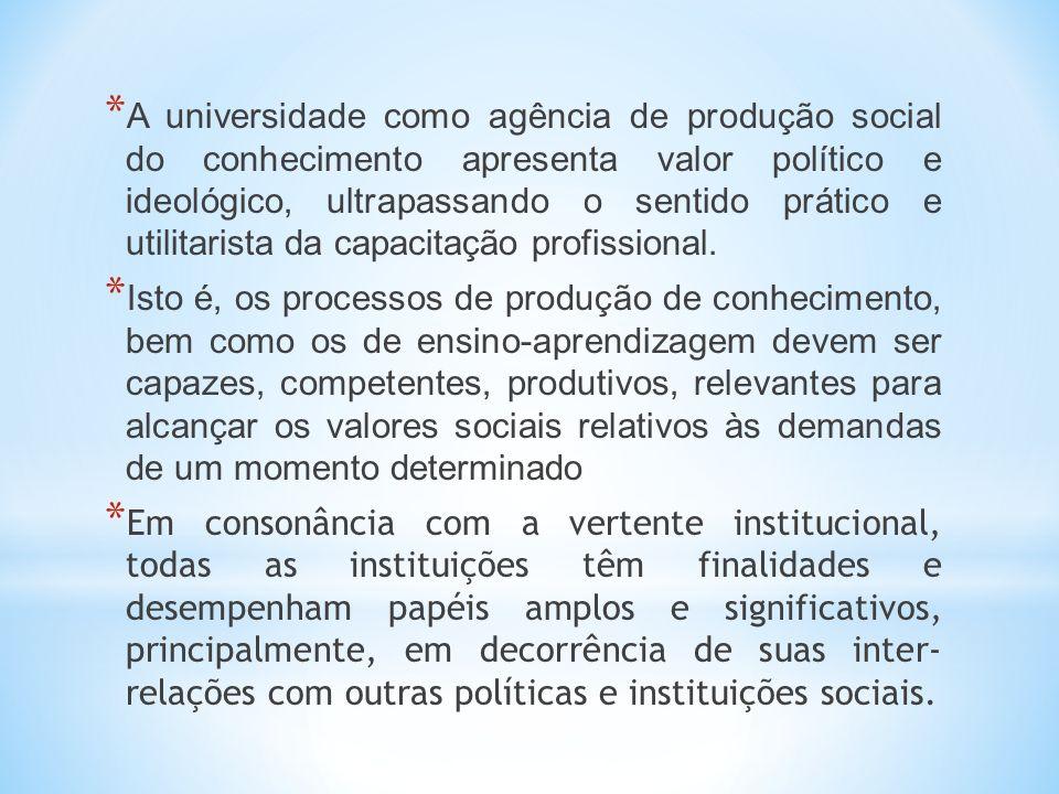 * A universidade como agência de produção social do conhecimento apresenta valor político e ideológico, ultrapassando o sentido prático e utilitarista da capacitação profissional.