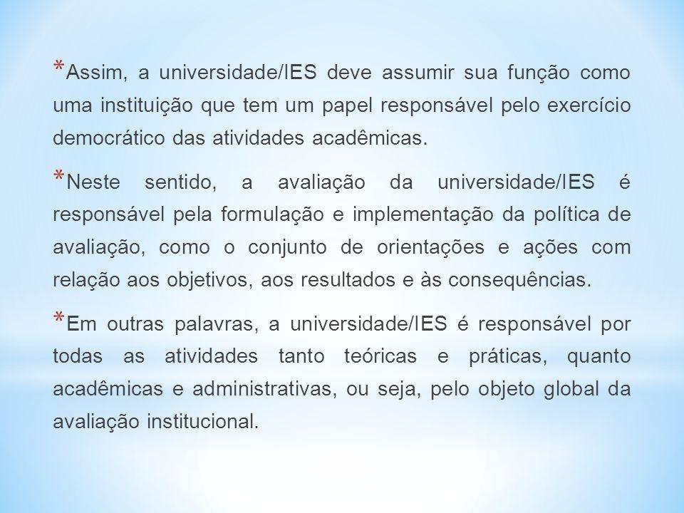 * Assim, a universidade/IES deve assumir sua função como uma instituição que tem um papel responsável pelo exercício democrático das atividades acadêmicas.