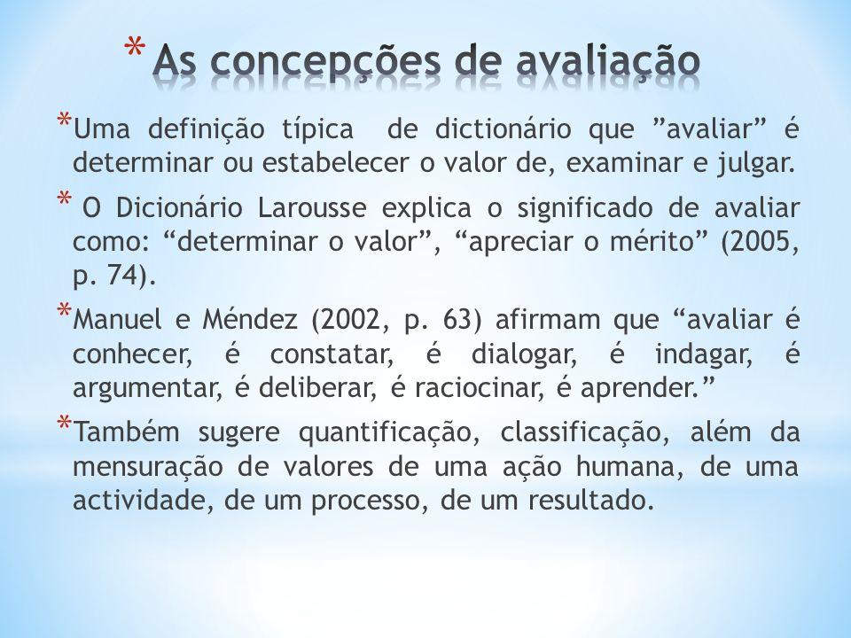 * Uma definição típica de dictionário que avaliar é determinar ou estabelecer o valor de, examinar e julgar.