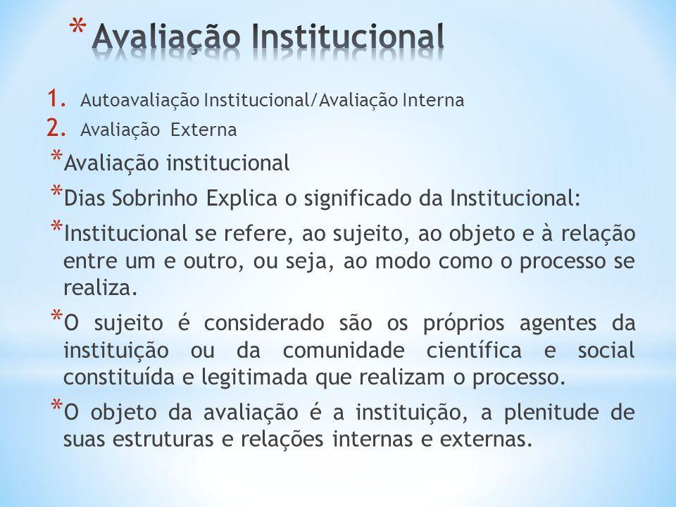 * Isto sinalizam a importância da definição de uma política institucional que busque a implantação da autoavaliação institucional, pautada em concepções, normas e procedimentos, enquanto instrumentos de gestão.