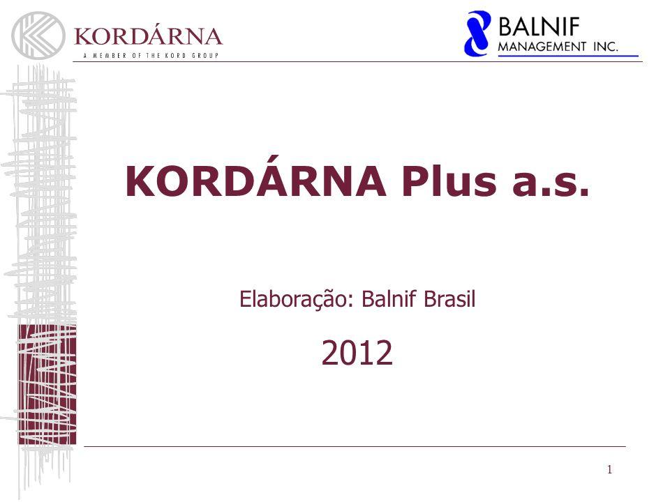 1 KORDÁRNA Plus a.s. Elaboração: Balnif Brasil 2012