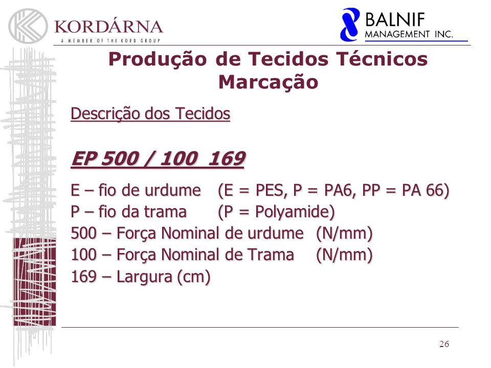 Produção de Tecidos Técnicos Marcação Descrição dos Tecidos EP 500 / 100 169 E – fio de urdume(E = PES, P = PA6, PP = PA 66) P – fio da trama (P = Polyamide) 500 – Força Nominal de urdume(N/mm) 100 – Força Nominal de Trama (N/mm) 169 – Largura (cm) 26