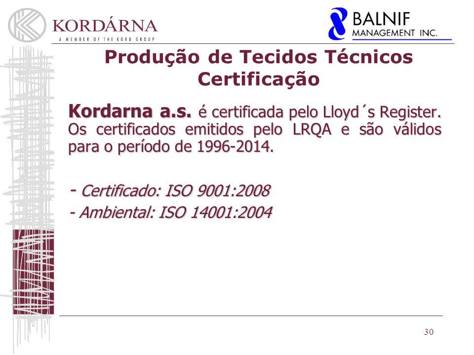 Produção de Tecidos Técnicos Certificação Kordarna a.s.