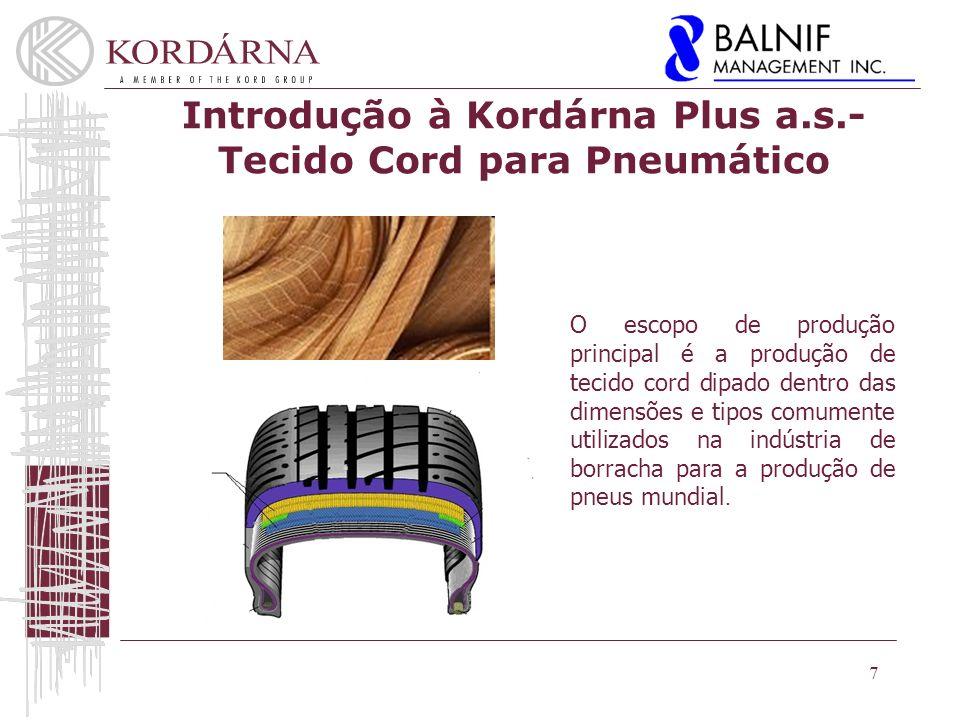 7 O escopo de produção principal é a produção de tecido cord dipado dentro das dimensões e tipos comumente utilizados na indústria de borracha para a produção de pneus mundial.