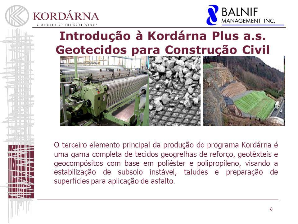9 O terceiro elemento principal da produção do programa Kordárna é uma gama completa de tecidos geogrelhas de reforço, geotêxteis e geocompósitos com base em poliéster e polipropileno, visando a estabilização de subsolo instável, taludes e preparação de superfícies para aplicação de asfalto.