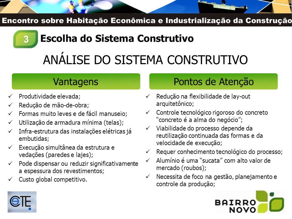 ANÁLISE DO SISTEMA CONSTRUTIVO VantagensPontos de Atenção Produtividade elevada; Redução de mão-de-obra; Formas muito leves e de fácil manuseio; Utili