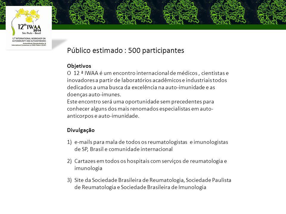 Público estimado : 500 participantes Objetivos O 12 ª IWAA é um encontro internacional de médicos, cientistas e inovadores a partir de laboratórios acadêmicos e industriais todos dedicados a uma busca da excelência na auto-imunidade e as doenças auto-imunes.