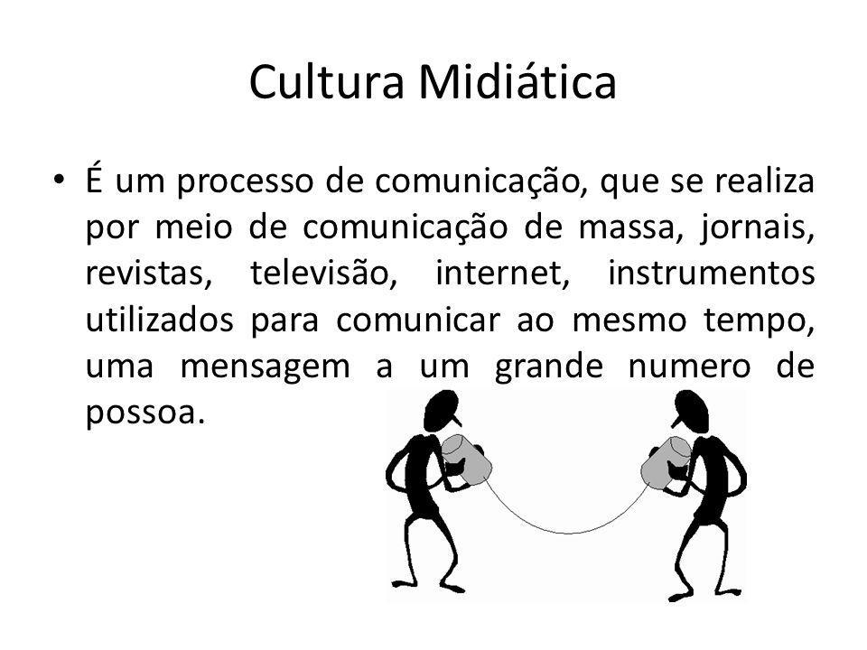 Cultura Midiática É um processo de comunicação, que se realiza por meio de comunicação de massa, jornais, revistas, televisão, internet, instrumentos utilizados para comunicar ao mesmo tempo, uma mensagem a um grande numero de possoa.