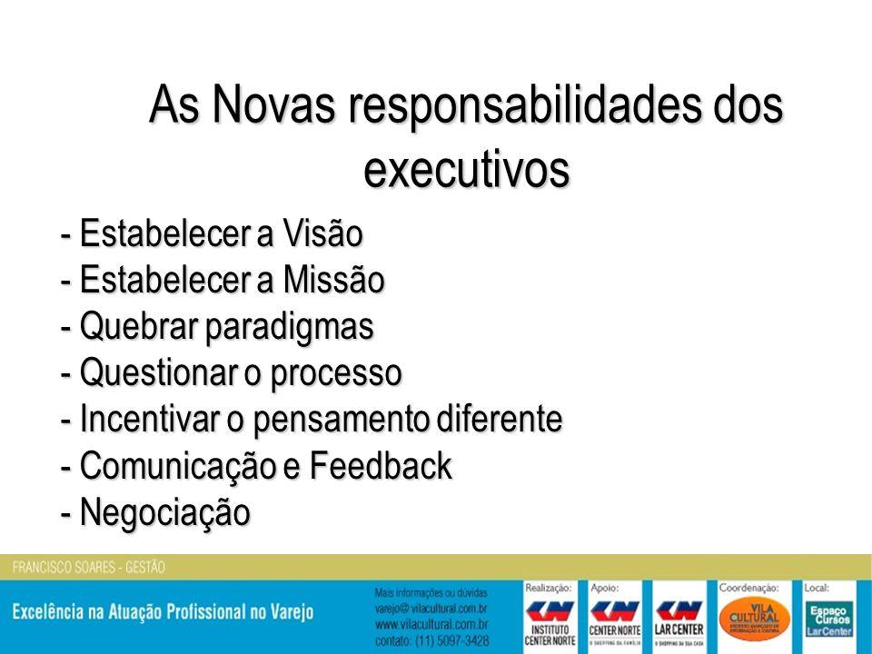 As Novas responsabilidades dos executivos - Estabelecer a Visão - Estabelecer a Missão - Quebrar paradigmas - Questionar o processo - Incentivar o pensamento diferente - Comunicação e Feedback - Negociação