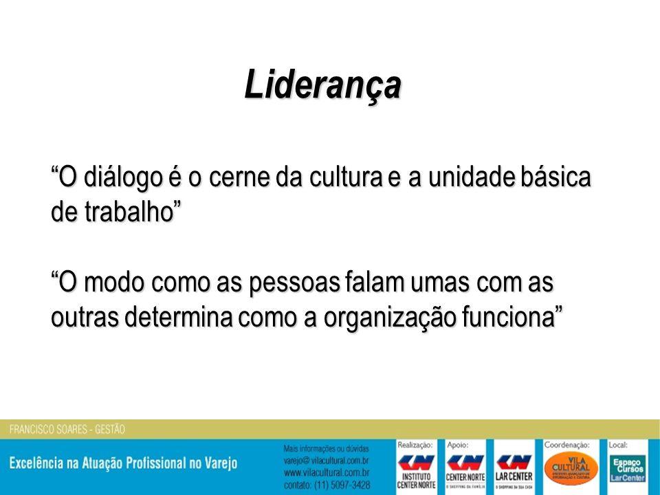 O diálogo é o cerne da cultura e a unidade básica de trabalho O modo como as pessoas falam umas com as outras determina como a organização funciona Liderança