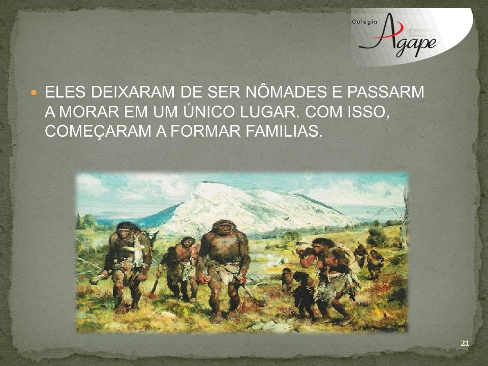 ELES DEIXARAM DE SER NÔMADES E PASSARM A MORAR EM UM ÚNICO LUGAR. COM ISSO, COMEÇARAM A FORMAR FAMILIAS. 21
