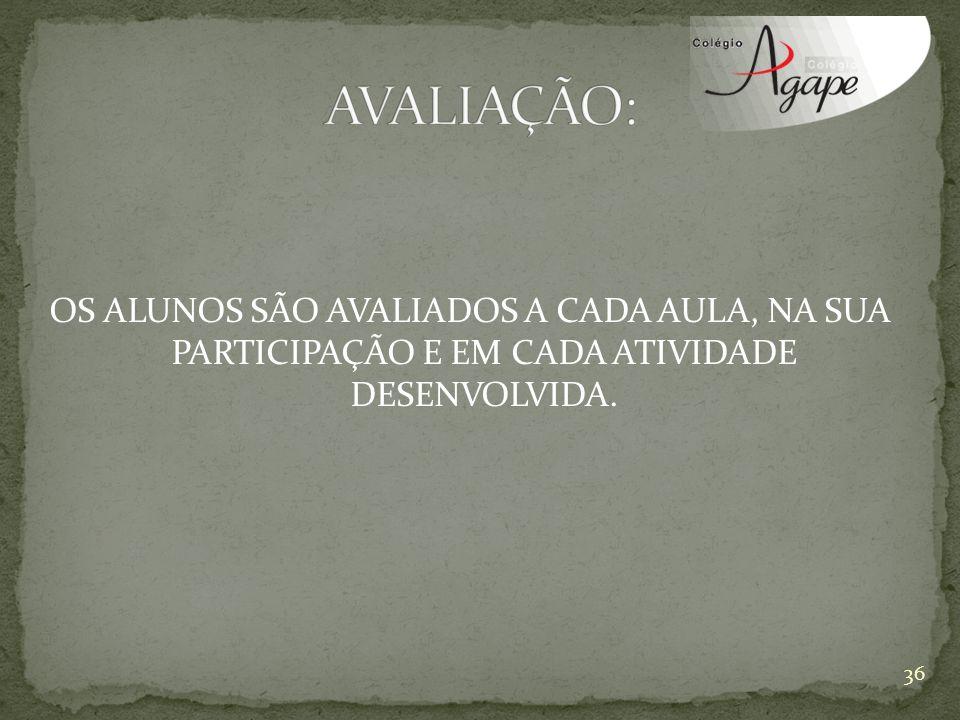 OS ALUNOS SÃO AVALIADOS A CADA AULA, NA SUA PARTICIPAÇÃO E EM CADA ATIVIDADE DESENVOLVIDA. 36