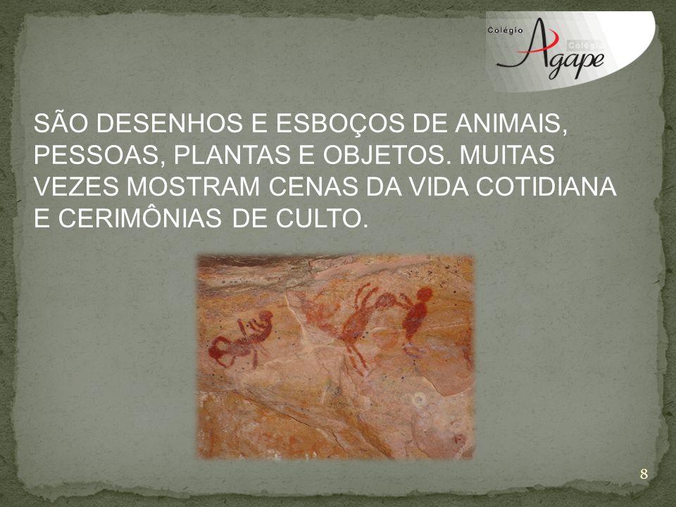 SÃO DESENHOS E ESBOÇOS DE ANIMAIS, PESSOAS, PLANTAS E OBJETOS.