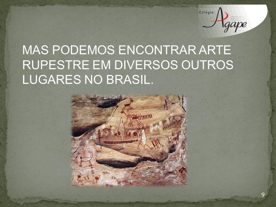MAS PODEMOS ENCONTRAR ARTE RUPESTRE EM DIVERSOS OUTROS LUGARES NO BRASIL. 9