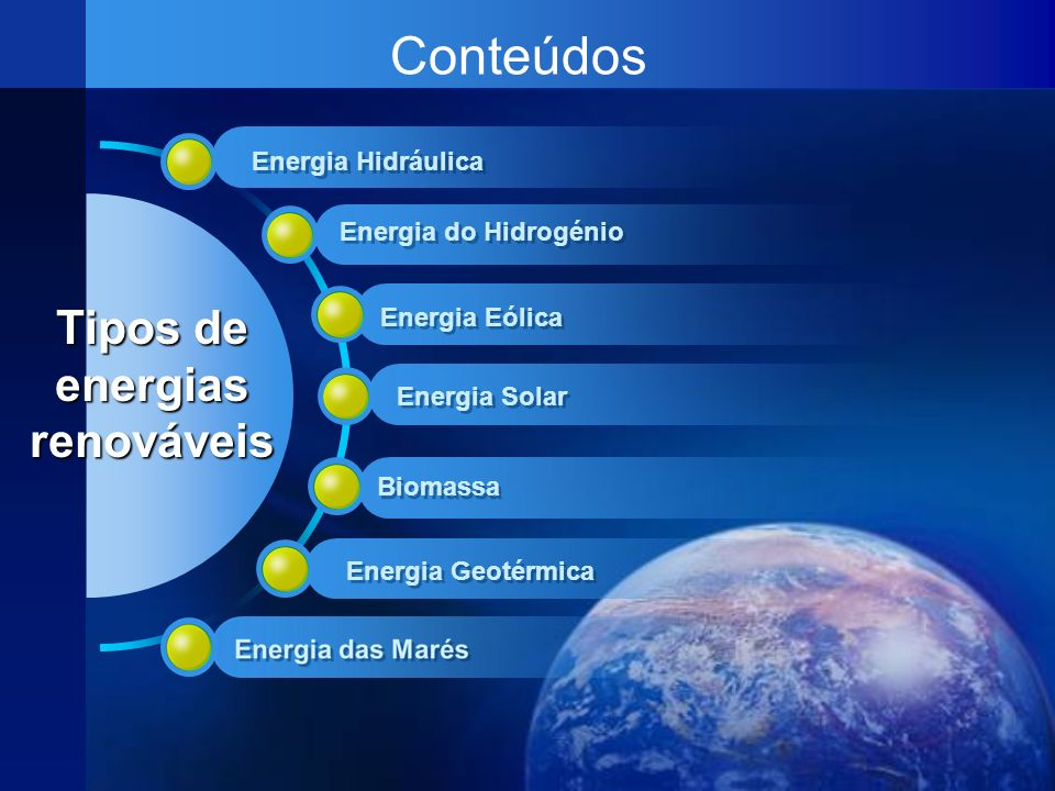 Conteúdos Tipos de energias renováveis Energia Hidráulica Energia Eólica Energia Solar Energia Geotérmica Biomassa Energia do Hidrogénio