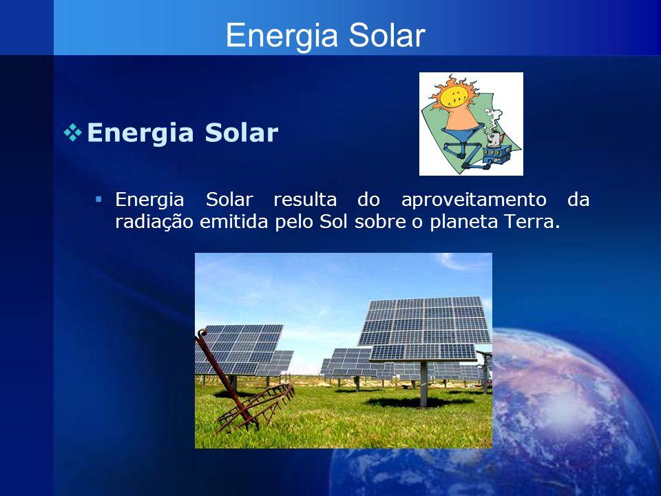 Energia Solar Energia Solar resulta do aproveitamento da radiação emitida pelo Sol sobre o planeta Terra. Energia Solar