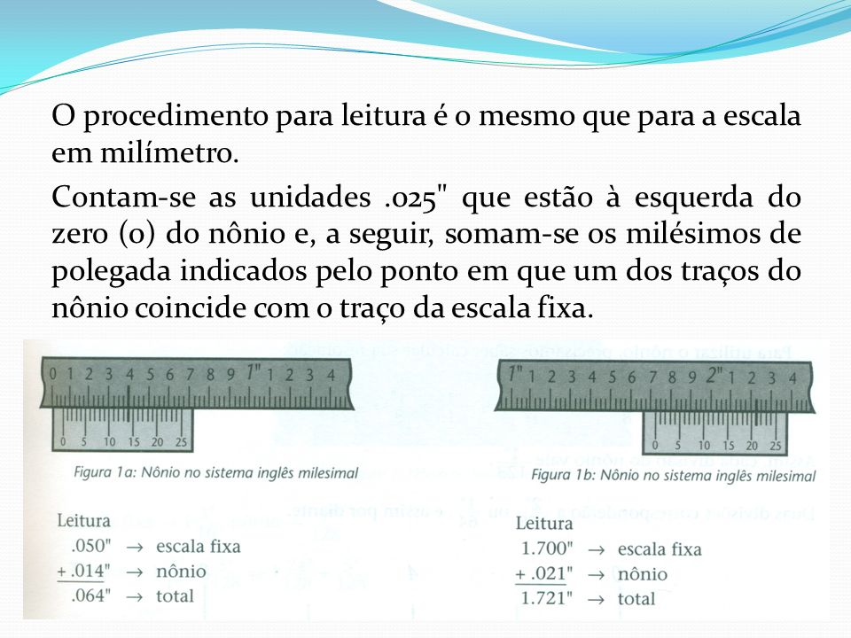 O procedimento para leitura é o mesmo que para a escala em milímetro. Contam-se as unidades.025
