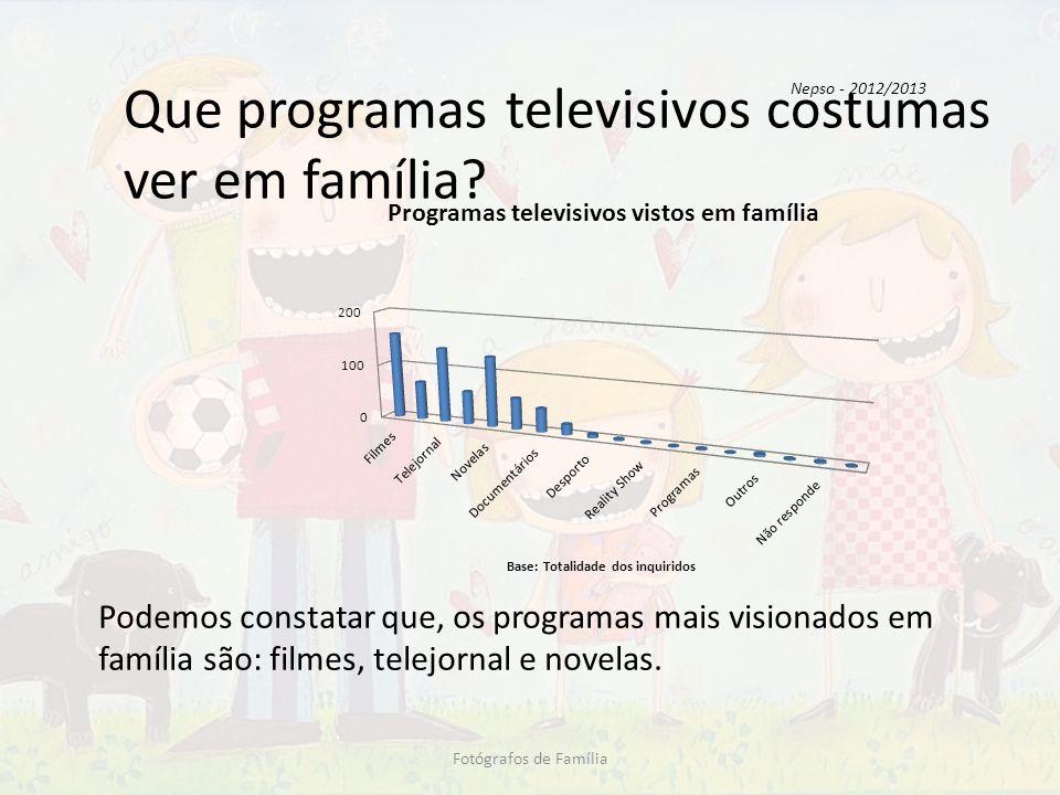 Que programas televisivos costumas ver em família? Fotógrafos de Família Podemos constatar que, os programas mais visionados em família são: filmes, t