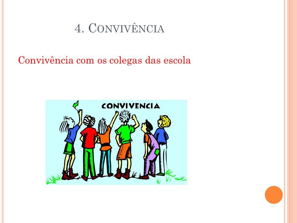 A CONVIVÊNCIA A conivência dos seres humanos é essencial para nos darmos bem, para as coisas não se complicarem connosco. 4. C ONVIVÊNCIA